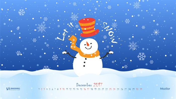 Let It Snow December 2017 Calendar Wallpaper Views:392