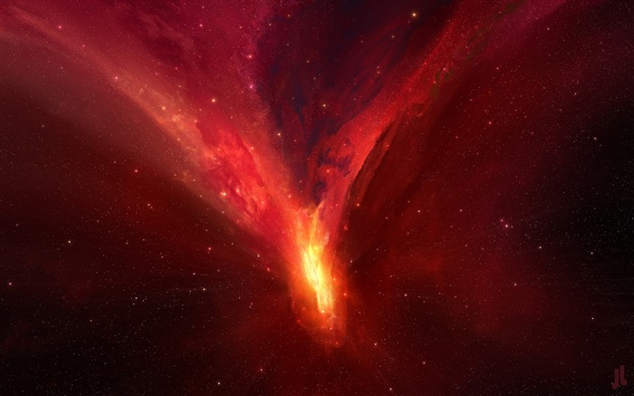 Red universe galaxy High Quality Wallpaper Views:229