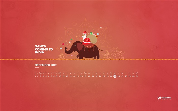 Santa Coming To India December 2017 Calendar Wallpaper Views:552