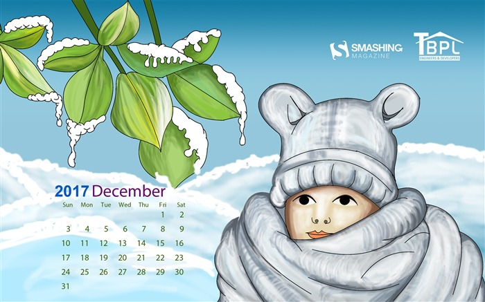 Snowy White December 2017 Calendar Wallpaper Views:452