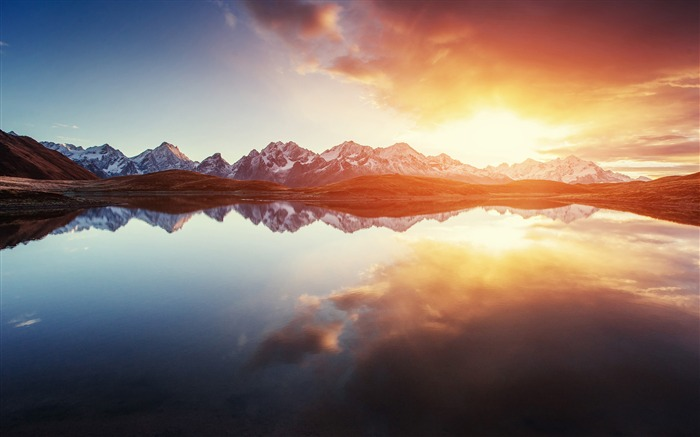 Sunrise mountains lake reflections 2017 HD Wallpaper Views:230