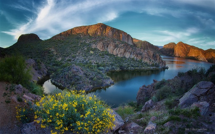Sunset canyon mountains lake 2017 HD Wallpaper Views:156