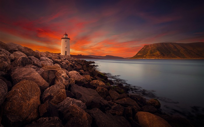 Sunset rocky shore lighthouse Photo HD Wallpaper Views:364