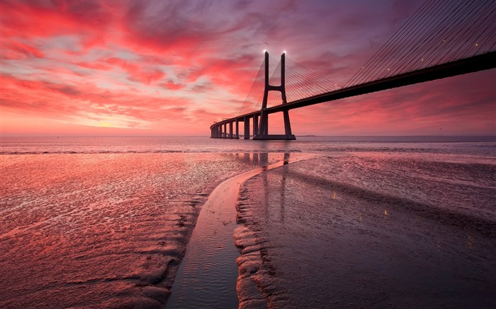 Sunset sea bridge Photo HD Wallpaper Views:816
