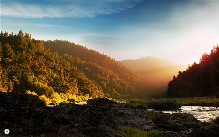 Sunshine forest river mountain Photo HD Wallpaper Views:277