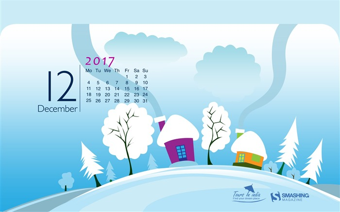 The World Is Asleep December 2017 Calendar Wallpaper Views:702