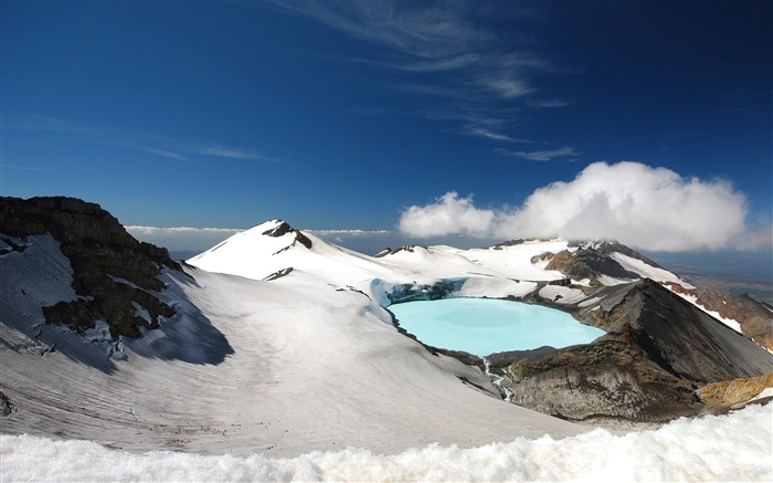 Tongariro lake mountains snow Photo HD Wallpaper Views:1091