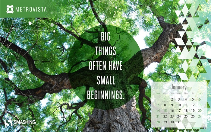 Big Things Often Have Small Beginnings January 2018 Calendars Views:739