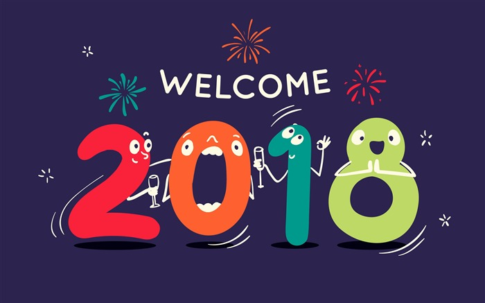 Cartoon Digital Welcome 2018 New Year 4K HD Wallpaper Views:137