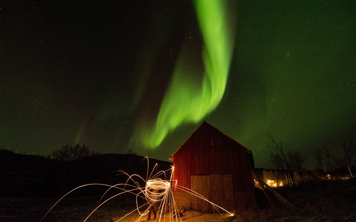 Colorful aurora barn evening firework sky Views:1319