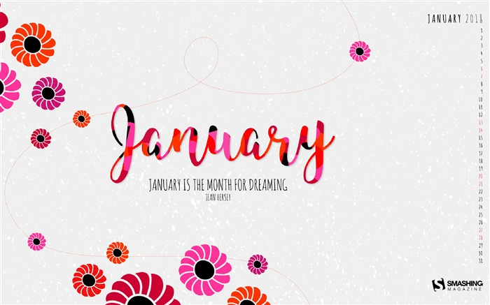 Dreaming Month January 2018 Calendars Views:1050