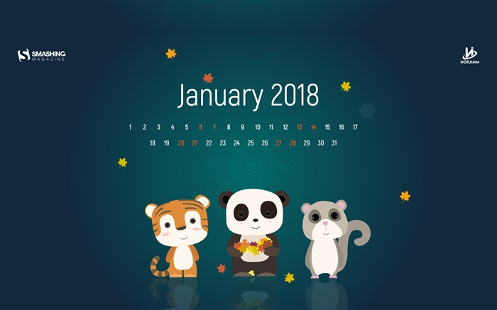 Happy New Year January 2018 Calendars Views:1581