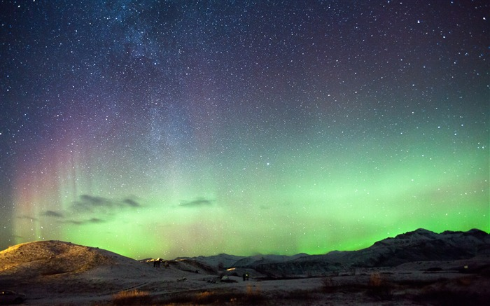 Iceland mountains sky northern lights 4K Ultra HD  Views:1060