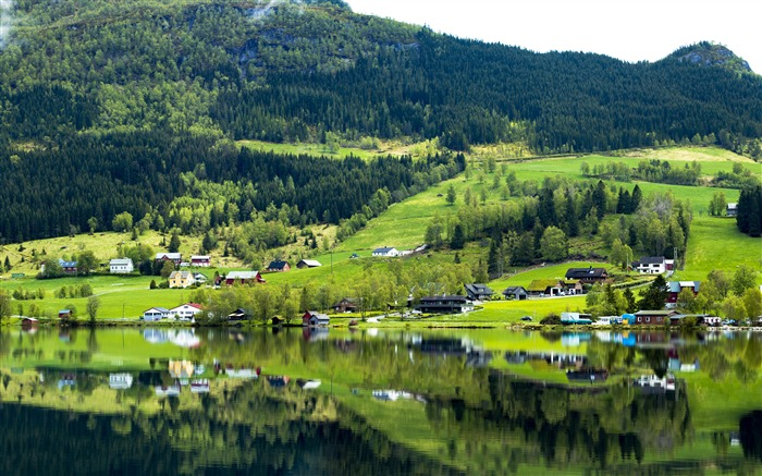 Norway jungle countryside houses reflection Views:1520