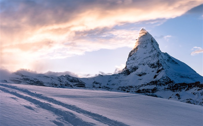 Cold winter alps snow mountain sunset Views:953