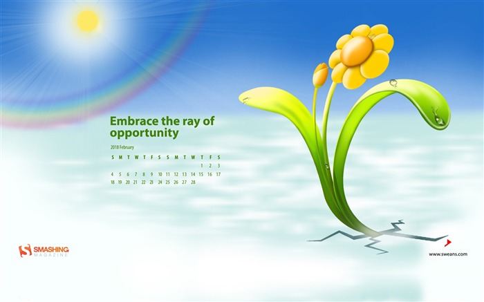 Embrace The Ray Of Opportunity February 2018 Calendars Views:493