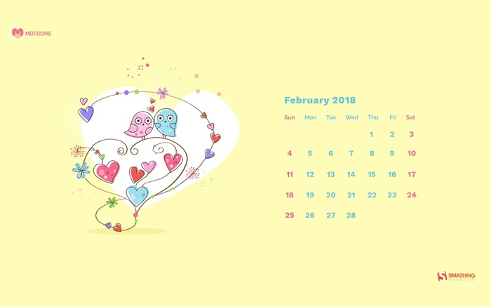 Sweet sunny February 2018 Calendars Views:712