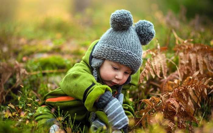 Autumn cute child playing forest Views:792
