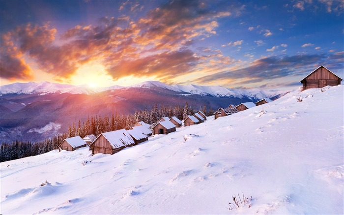 Winter snow mountain wooden house sunset Views:854