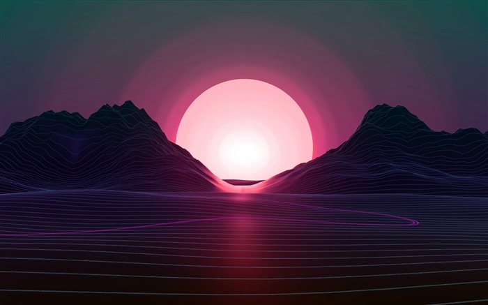Retrowave Lines Ocean Hills Sunset Vector Views:87
