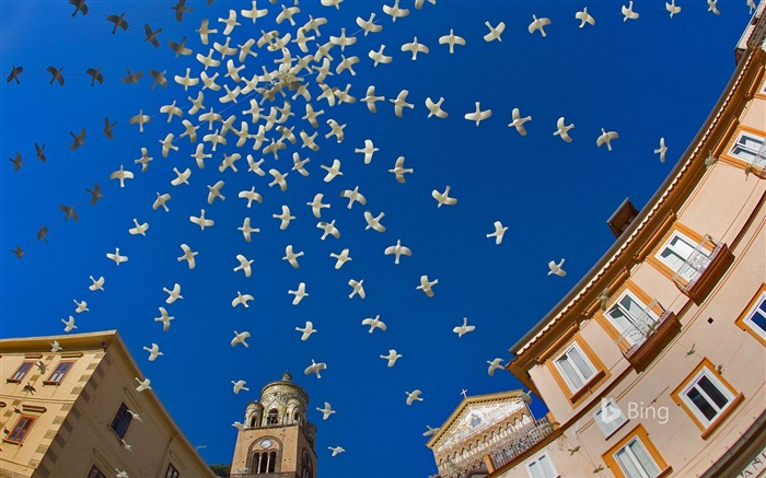 Italy Amalfi Cathedral Square Pigeons Art Views:1486 Date:10/22/2018 10:21:50 PM