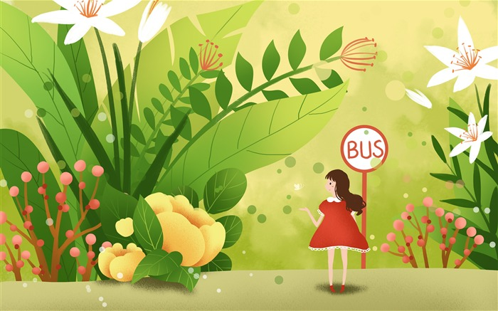 Cute girl bus flowers illustration art Views:2304 Date:11/13/2018 7:14:00 AM