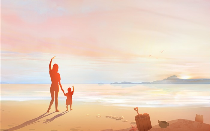 Mother Day Seaside Beach Sunset Illustration Views:2575 Date:11/13/2018 7:03:02 AM