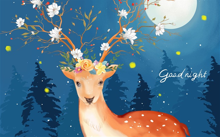 Sika deer good night creative illustration design Views:3379 Date:11/13/2018 7:09:15 AM