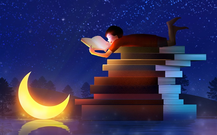 Starry sky moon reading boy dreamy illustration Views:4136 Date:11/13/2018 6:45:46 AM