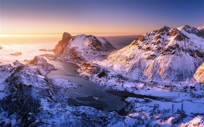 Norway Lofoten Islands Sunset 2021 Scenery 4K Photography Views:1505 Date:1/2/2021 10:52:12 PM