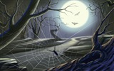 Title:Moonlight bats and spiders-Halloween Illustration Design Wallpaper Views:7277