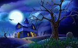Title:Moonlight castle and bat-Halloween Illustration Design Wallpaper Views:15846