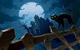 Title:Moonlit castles and wild cats-Halloween Illustration Design Wallpaper Views:8878