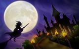 Title:Witch and her Castle-Halloween Illustration Design Wallpaper Views:8423