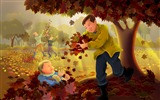 Title:Father and son together-Thanksgiving day wallpaper illustration design Views:4316
