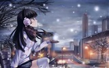 Title:Girl listening to music in the snow-Music lovers wallpaper Views:7305