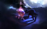 Title:black kitty and a red balloon-Fantasy painting wallpaper Views:26486
