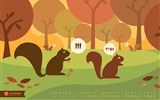 Title:Autumn Squirrels-October 2012 calendar wallpaper Views:6425