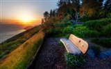 Title:bench with sea view sunset-Natural landscape widescreen Wallpaper Views:2916