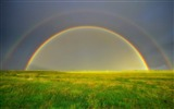 Title:Double Rainbow On Green Field-Nature wallpaper Views:2146