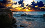 Title:sea surf sunset stones-Photo HD Wallpaper Views:1983