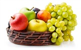Title:Grapes apples basket-fruit food wallpaper Views:1287