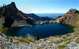 Title:Small lake surrounded mountains-Nature photography HD wallpaper Views:1358