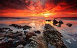 Title:Sunset shades mixing wet beach-Nature photography HD wallpaper Views:1332