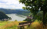 Title:Bench facing village and river-Nature High Quality Wallpaper Views:1203