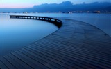 Title:Blue lake evening pier-Nature High Quality Wallpaper Views:1447