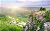 Title:Sunbeams bushes stones mountains-Nature High Quality Wallpaper Views:1083