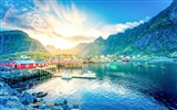 Title:lofoten norway lake mountains house-Nature High Quality Wallpaper Views:1375