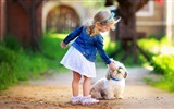 Title:Cute girl and dog-International Childrens Day Wallpaper Views:998