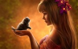 Title:Girl and kitten anime-Widescreen High Quality Wallpaper Views:1810